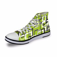 Noisydesigns High top canvas women sneakers vintage vulcanized lace up flat shoes ladies green white blue checker 3D print girls