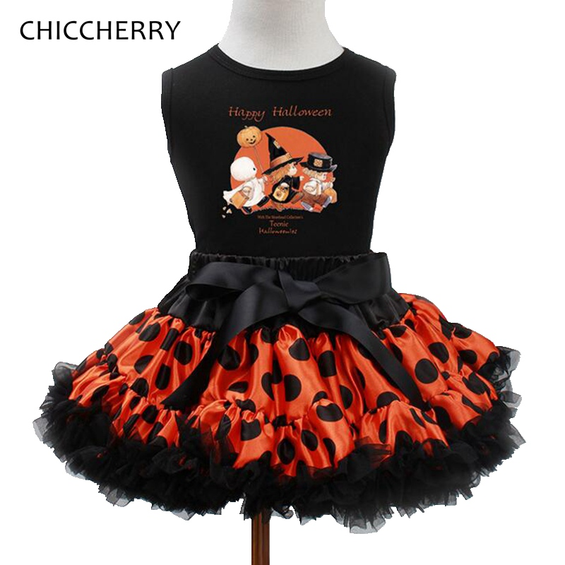 2017 Happy Halloween Costume For Baby Girl Clothes Kids Tops + Lace Tutu Skirt Girls Clothing Sets Halloween Outfits Toddlers 2pcs skirt set 2016 wholesale baby girls cartoon short sleeve tops lace cute tutu skirt for 0 4y baby girl