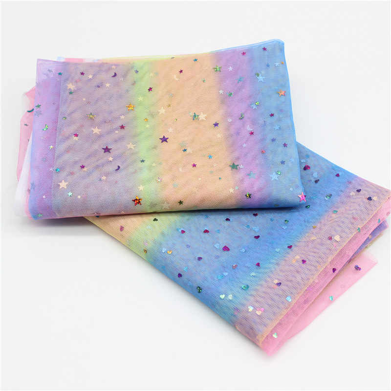 1m/lot 1.5m Width Moon&star&love Heart Mesh Fabric Gauze Tulle Rainbow Tissue Kids Dress Fabric DIY Sewing Craft Supplies