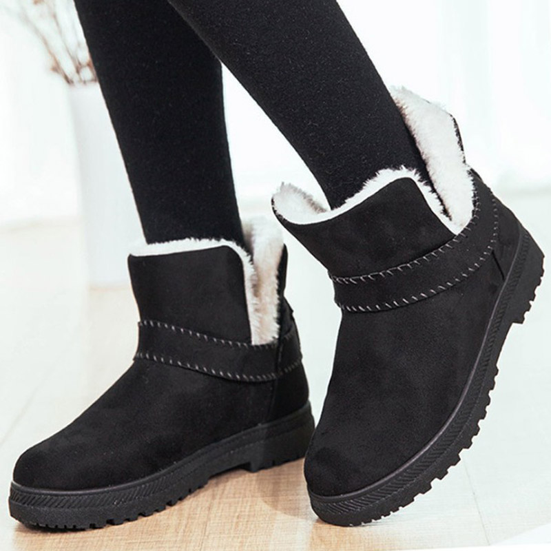 цена Fashion Winter Boots Women Ankle Boots Platform Fur Snow Shoes Female Plush Insole Comfortable Ladies Flat Slip On Botas Mujer