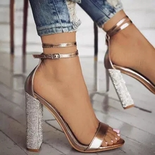 Women Sexy Champagne Color Holllow Out Ankle Buckle Strap Sandals Bling Crystal Decoration High Square Heel Dress Shoes