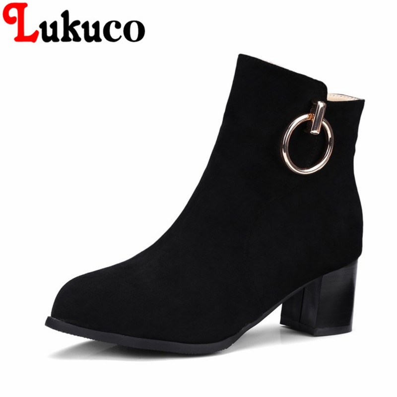 2018 New concise style Pointed Toe lady shoes size 34-46 Square hee Ankle Boots high quality low price super bargain women boots 2017 fashion style zipper decoration round toe shoes size 34 47 mid calf boots high quality low price super bargain women boots