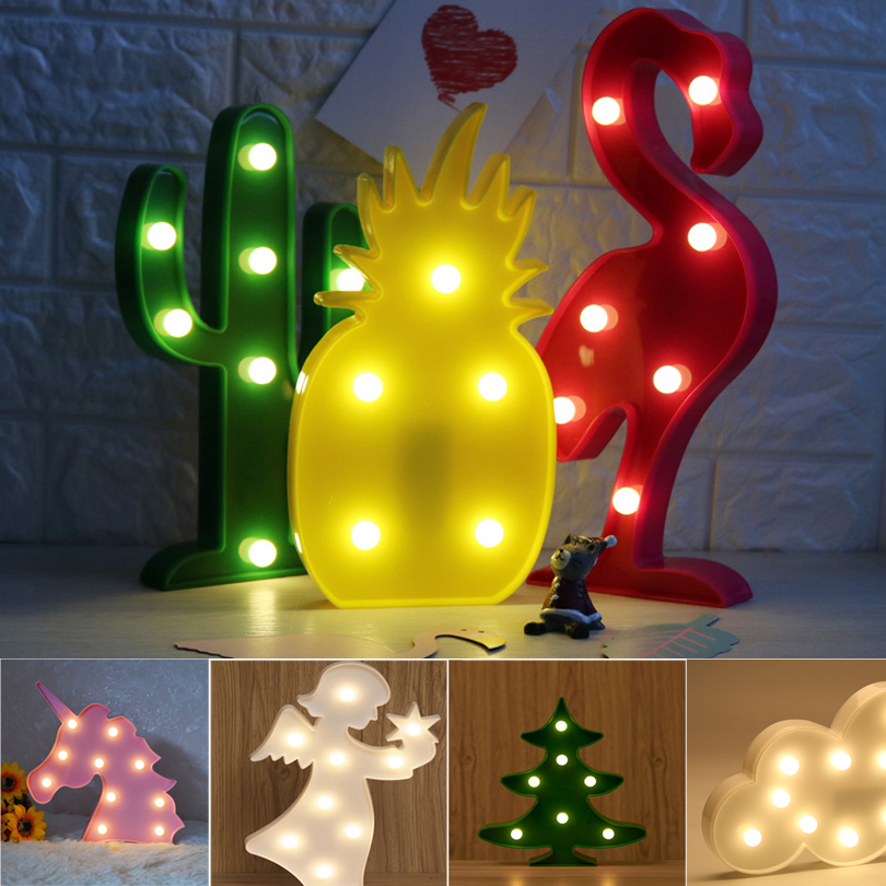 Cute LED Flamingo Unicorn Night Lights Marquee Sign Pineapple Cactus Star Luminary Wall Lamp Cartoon Animal Decor Lighting Gifts delicore purple light unicorn head led night lights animal marquee lamps on wall for children party bedroom decor gifts s027 p