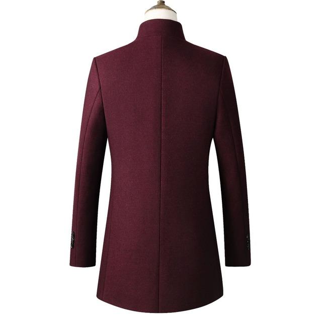 Men Jacket Warm Winter Trench Coat Long Outwear Button Overcoat stand collar  Casual Windbreaker Overcoat Jackets Wool Blends