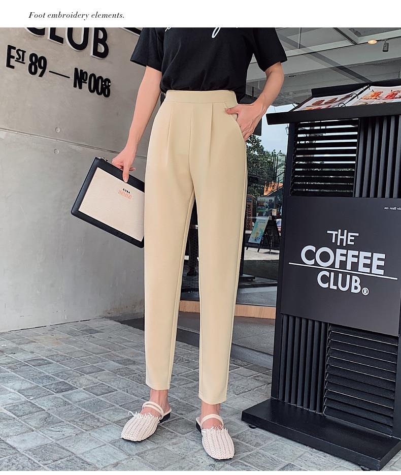 Aselnn Pants Women 2019 Spring Autumn Casual Linen Ankle-length Pants Regular Harem Pants Plus Size Streetwear Trousers Female 12