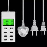 USB Şarj iphone 7 5 S 6 S Meizu m3s 18650 ABD AB İNGILTERE Çok Lcd Ekran Dc Voltmetre ile 8 Usb Portu Şarj Akıllı duvar
