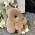 2017 100% Real Genuine Rex rabbit Furs Keychain Pendant Bag Car Charm Tag Cute Mini Rabbit Toy Doll Fur Monster  Keychain 13.5cm