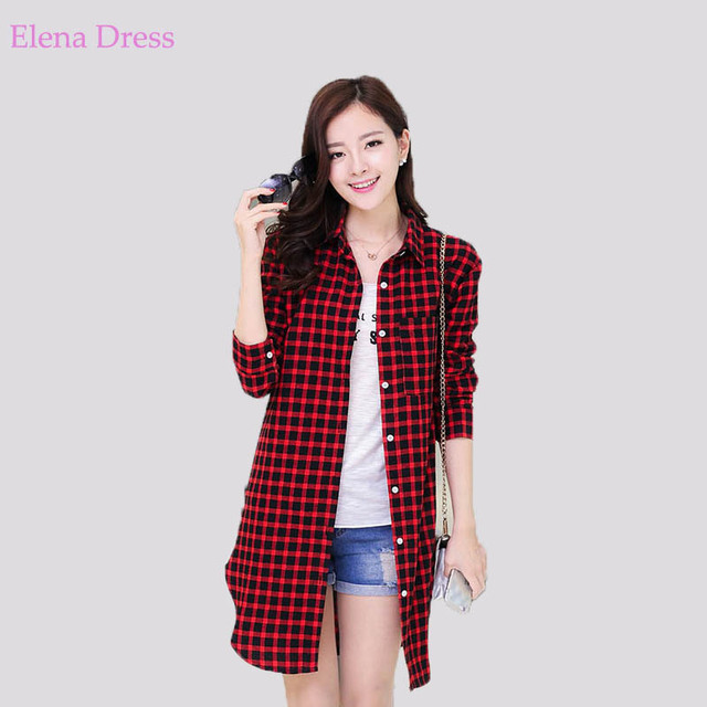 f51ae2e05db89 Summer Checked Plaid Dress Lapel Neck Long Sleeve Loose Plus Size Mini Shirt  Dress Red Green Black Automn Women Clothes
