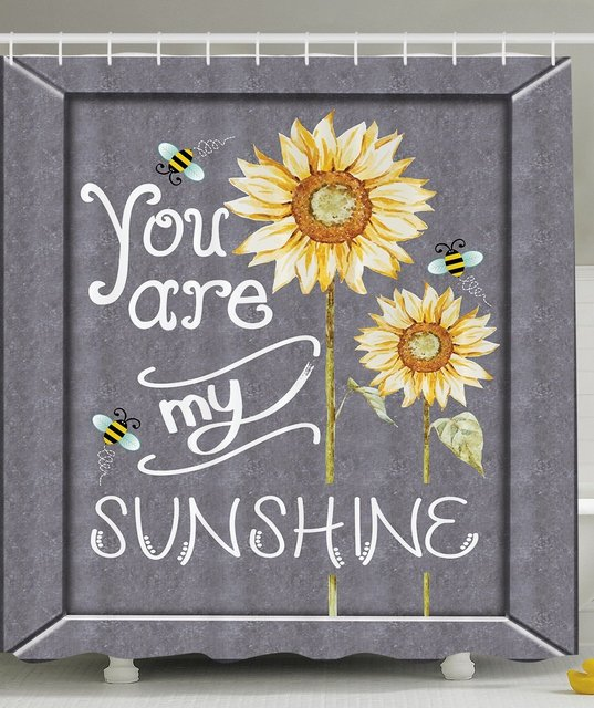 You Are My Sunshine Quote On A Black Board With Bees And Sunflowers,  Polyester Fabric
