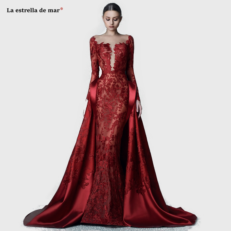 Us 1800 25 Offrobe De Soiree2019 New Lace Long Sleeve Sexy Mermaid Burgundy Evening Gown Long Turkish Abendkleider Custom Muslim Formal Dress In