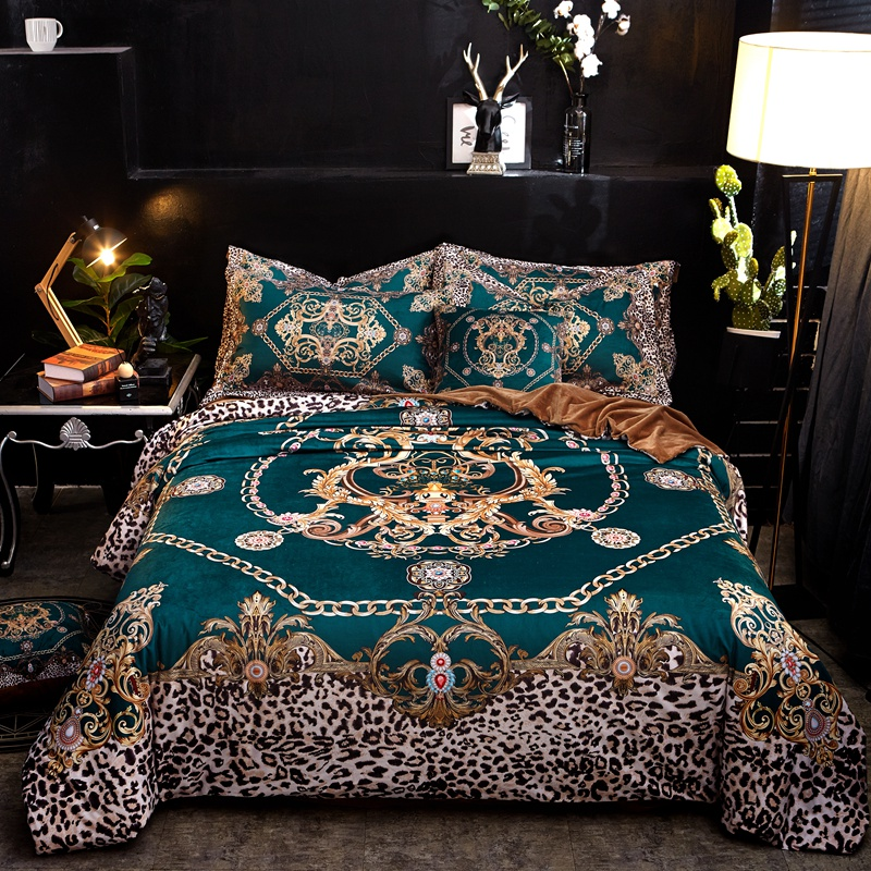 Luxury Flannel Classic Leopard Print Bedding Set Winter Warm Fleece Soft Duvet Cover Bed Sheet Pillowcase