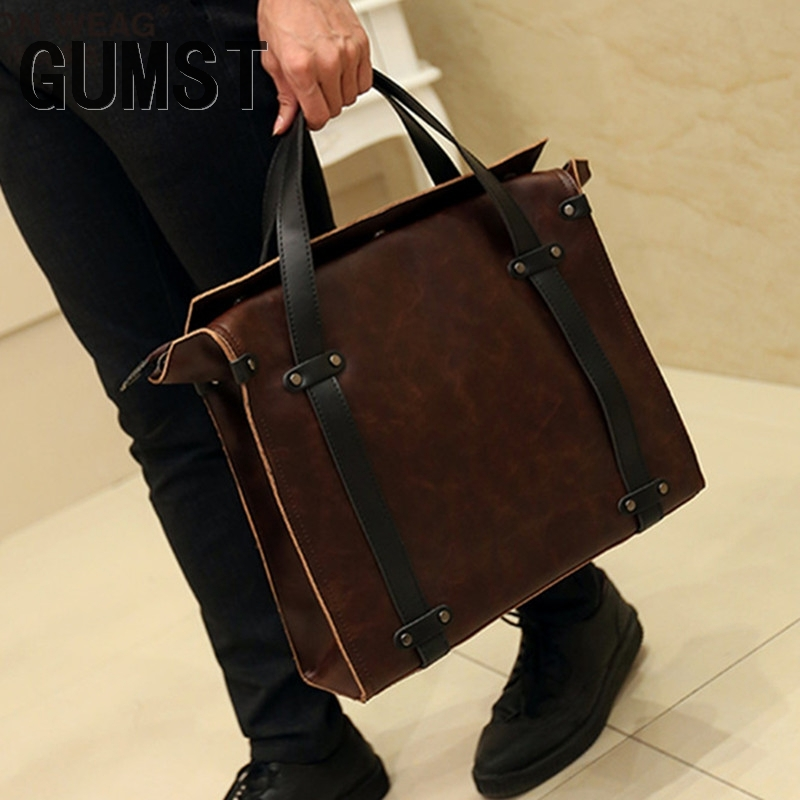 GUMST 2019 New Leather Men Bag Leisure Men's Business Messenger Bags Portable Briefcase Bag Laptop 13 Inch Handbag