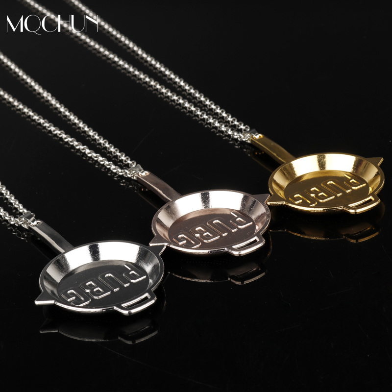 MQCHUN New Game Playerunknowns Battlegrounds Pans Weapon Pendant Necklace PUBG INVITATIONAL Logo Keychain Men New Year Gift