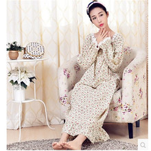 Nightgowns For Women Spring And Autumn Long-sleeve Long Nightdress Cotton Loose Sleepwear Lounge Ladies Sleepshirts