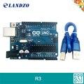 LANDZO 2017 frete grátis arduino mega328p ATMEGA16U2 UNO R3 para arduino com Cabo USB arduino starter kits