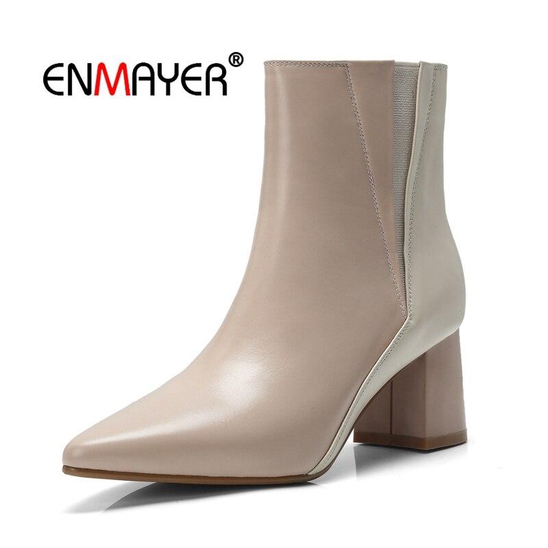 Cr1593 Zip Enmayer Bottes Apricot Orteil Retour Zapatos white D'hiver Dames Femmes Hauts Chaussures Mujer Talons Bottines Pour Patchwork Pointu pqzGSVMU