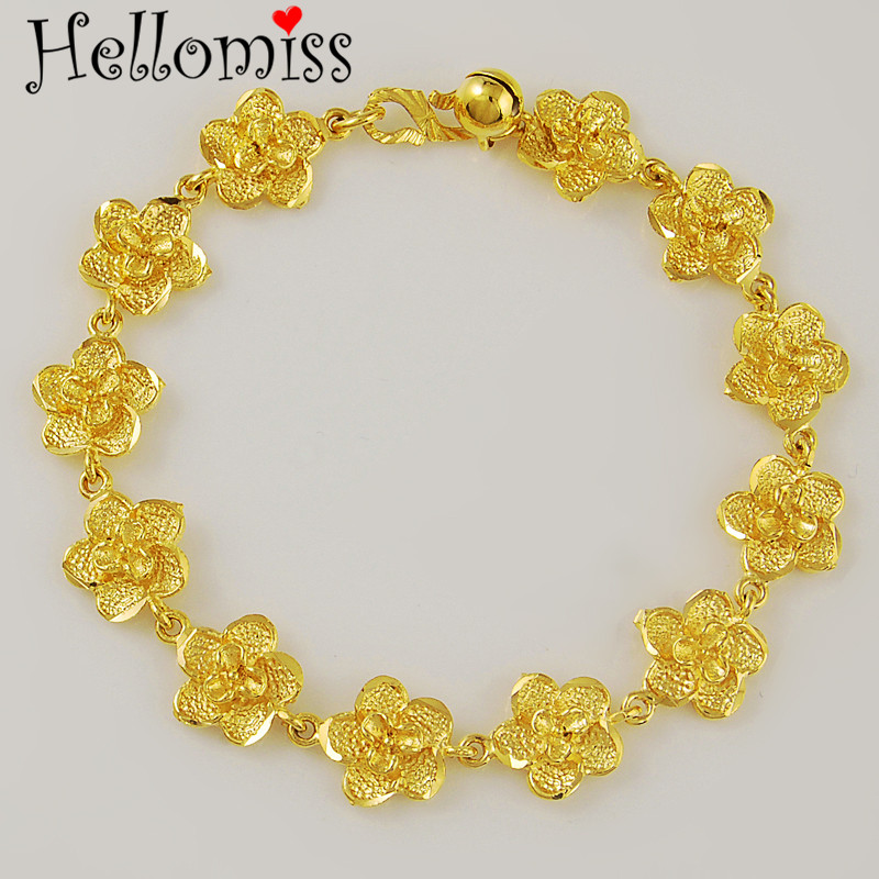 12mm Wide Full Flower Bracelets Bangles for Women Yellow Gold Color Chains Bracelet Fashion Costume Jewelry Not Fade Pulseiras