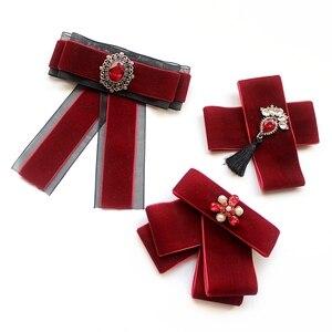 Suéter con cuello para mujer, pajarita ostentosa con diamantes de imitación, borlas de cristal, lazo para boda, corbata, uniforme rojo, accesorios para pajarita