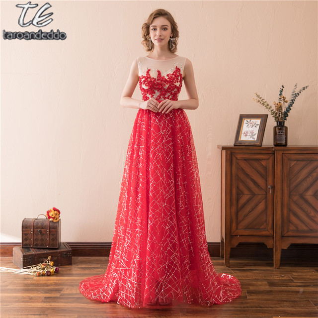 Scoop Sleeveless Red Sequin A line Bling Bling Prom Dress with ...
