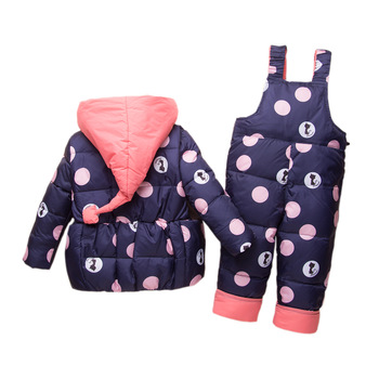 Children Winter Dot Down Jumpsuit Children Windproof Fashion Hooded Clothing Set Baby Cartoon 2 PCS Warm Duck Down Set AA51919