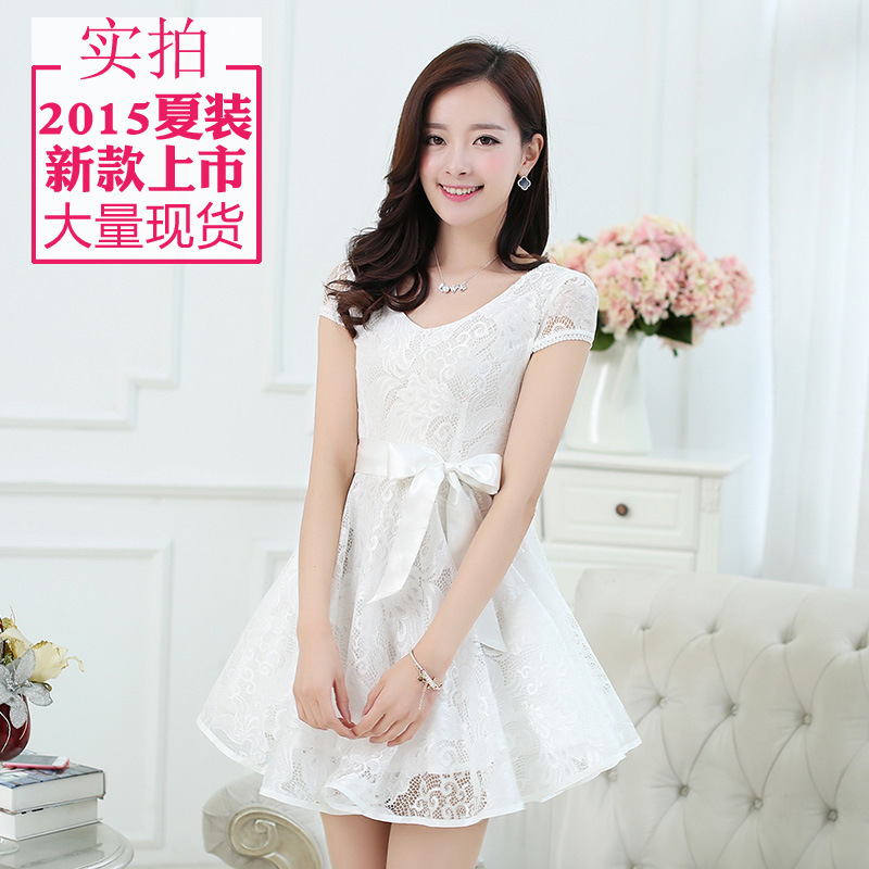 2015 Eelegant Party Lace Dresses for Teens Short Sleeve O neck ...