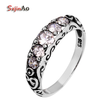 Szjinao Diamond Rings For Women Antique 925 sterling Silver