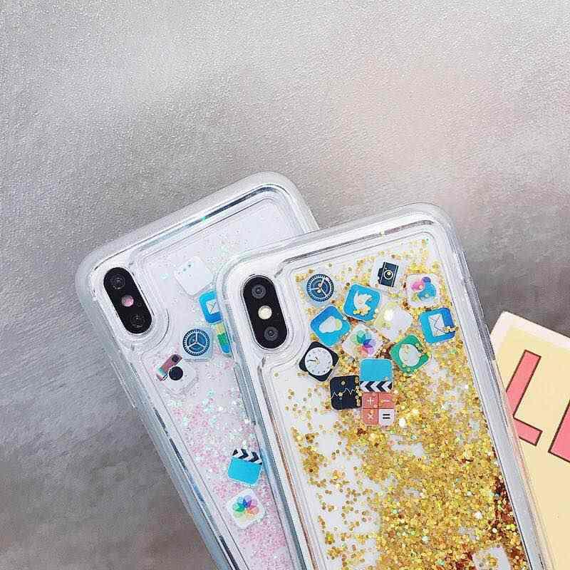 KISSCASE חול טובעני קשיח מחשב מקרה ברור עבור iPhone X XS MAX XR דינמי נוזל מקרה עבור iPhone 7 8 6 בתוספת כיסוי חמוד סמל אפליקציות מקרה