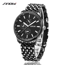 SINOBI 2017 Watch Men Quartz-Watch Luxury Full Steel Men's Watch Waterproof Clock Men Relogio Masculino Fashion Erkek Saat G42