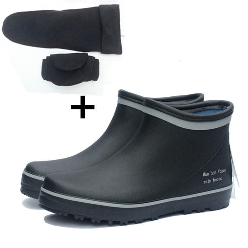 Mens Rubber Rainboots Male Bot Short Tube Low Ankle Rain Boots Waterproof Fishing Galoshes Boots ...