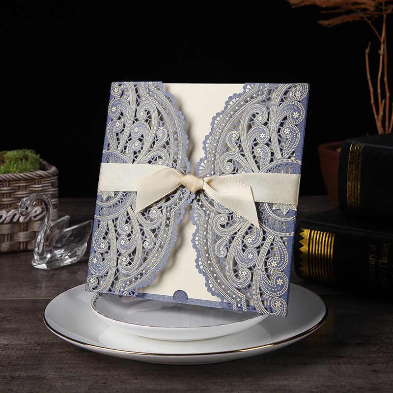 1pcs Sample 4 Color Laser Cut Wedding Invitations Card lace Elegant Greeting Card WIth Ribbon Envelopes Wedding Party Decoration