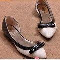 Леди сладкий галстук-бабочка мягкая кожа заглянул toe плоские туфли на каблуках рабочая обувь для дам девушки розовый/белый женщин большой размер (4-15)