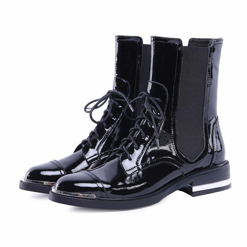 Женские полусапожки из натуральной кожи FEDONAS, черные ботильоны на высоких каблуках с круглым носком и перекрестной шнуровкой, теплые мотоботы на осень и зиму 2019