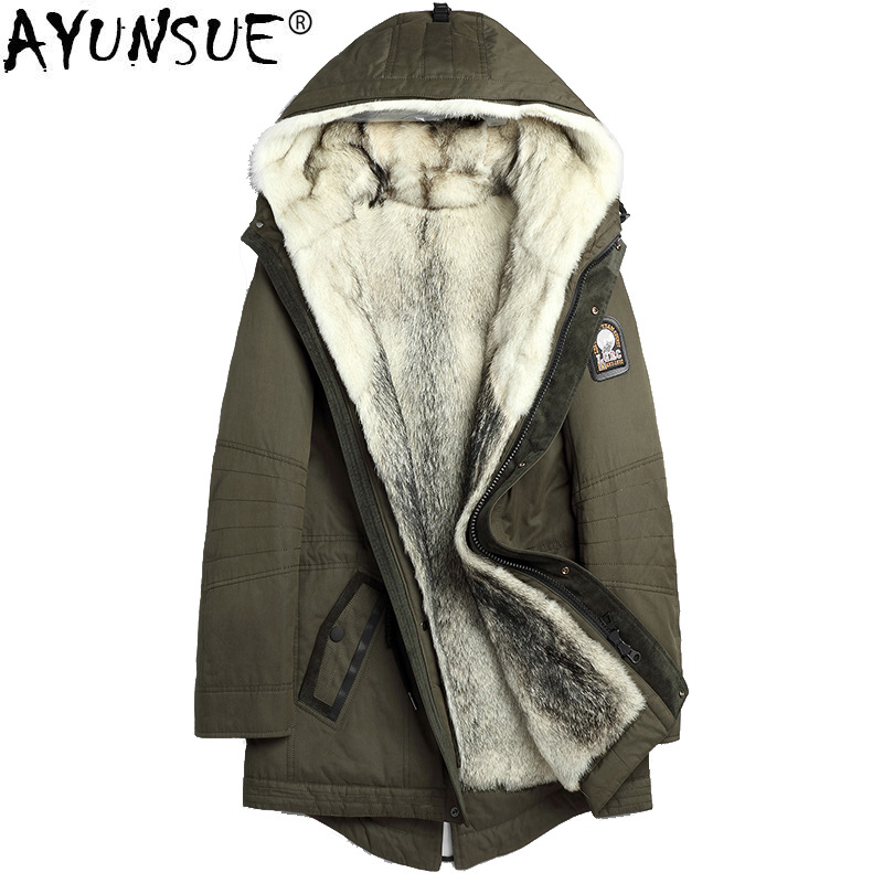 AYUNSUE Parka Real Fur Coat Men Winter Jacket 2019 Natural Wolf Fur Liner Warm Clothes Long Men's Jackets Parkas 1125 KJ2437