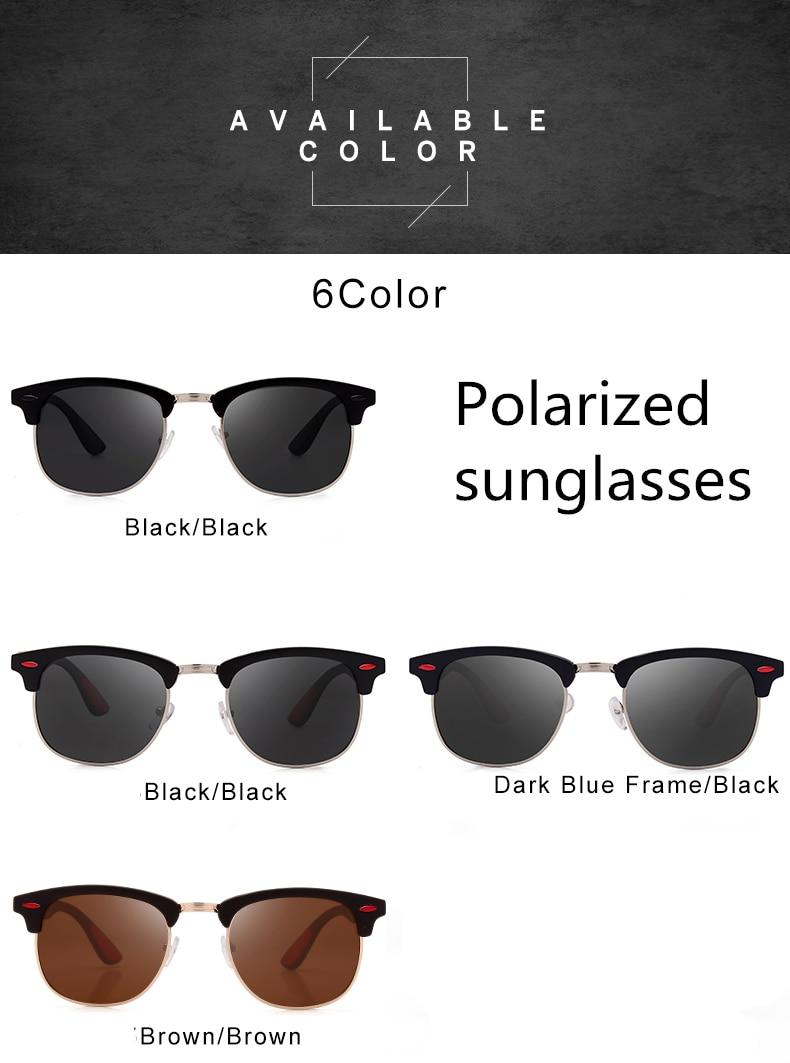 2019 new polarized men's sunglasses UV400 square half metal frame fashion ladies glasses classic brand design driving sunglasses (15)