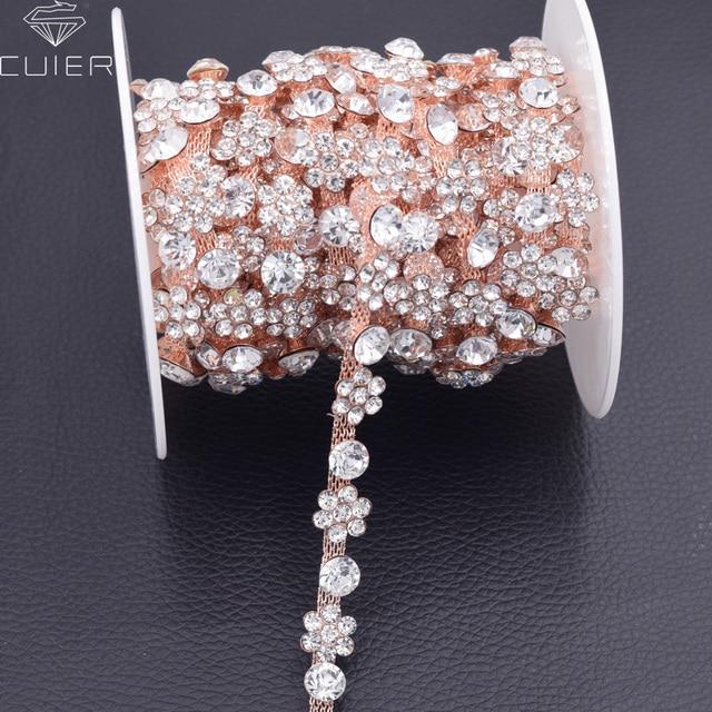 10yards plum blossom Rhinestone chain Bridal dress belt patches trims  Handmade appliques for Garment decorations HF 25173d1dee1f