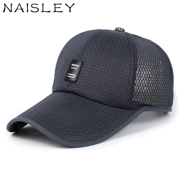 NAISLEY New Summer Baseball Cap Snapback Solid Color Breathable Mesh Cap  Lady Fashion Casual Sports Big Hat Sunshade Cap Men Hat 28cd2986bd06