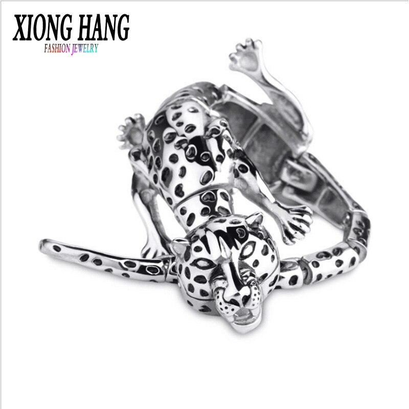 XiongHang haute qualité en acier inoxydable 316L Bracelet hommes ornements hip-hop Rock And Roll Bracelet léopard Bracelet de mode Bracelet