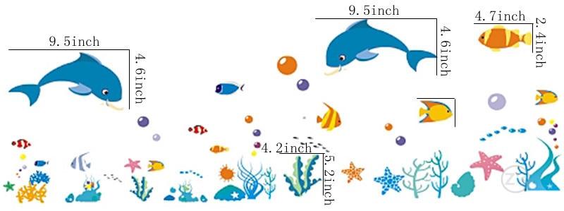 Zs Sticker dolphin fish mundo marino vinilos decorativos ocean fish - Decoración del hogar - foto 2
