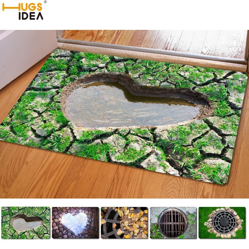 HUGSIDEA Kreative Eingang Teppiche Lustige Gummi 3D Fallen Gedruckt Teppich für Tür Boden Wohnzimmer Küche Bad Matten 40x60 cm