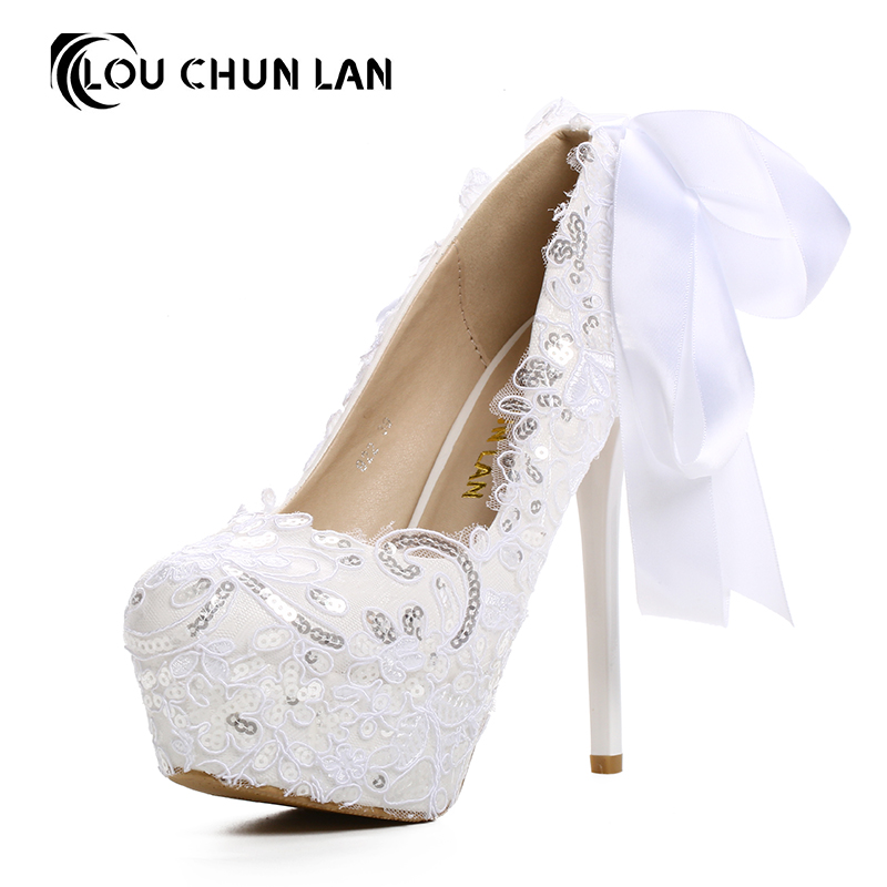 2016 White Lace paillette round toe Bridal Shoes shallow mouth thin Heels Wedding Shoes bow ultra High Heels Shoes Free Shipping
