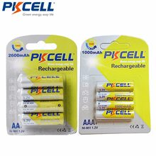 8 pces pkcell 4 pces/cartão aa bateria 2600mah com 4 pces/cartão aaa 1000mah 1.2v ni-mh aaa bateria recarregável baterias 1000 círculo