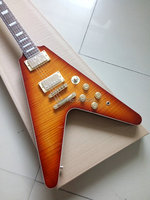 Custom Shop Flying V electric guitar tiger maple cover high quality one piece guitar,gold hardware free shipping