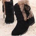 Mulheres Tornozelo Botas de Pele De Coelho Nova Moda Cunha Botas Plataforma da Neve do Inverno Quente Sapatos À Prova D' Água Para O Sexo Feminino Baixo Valor