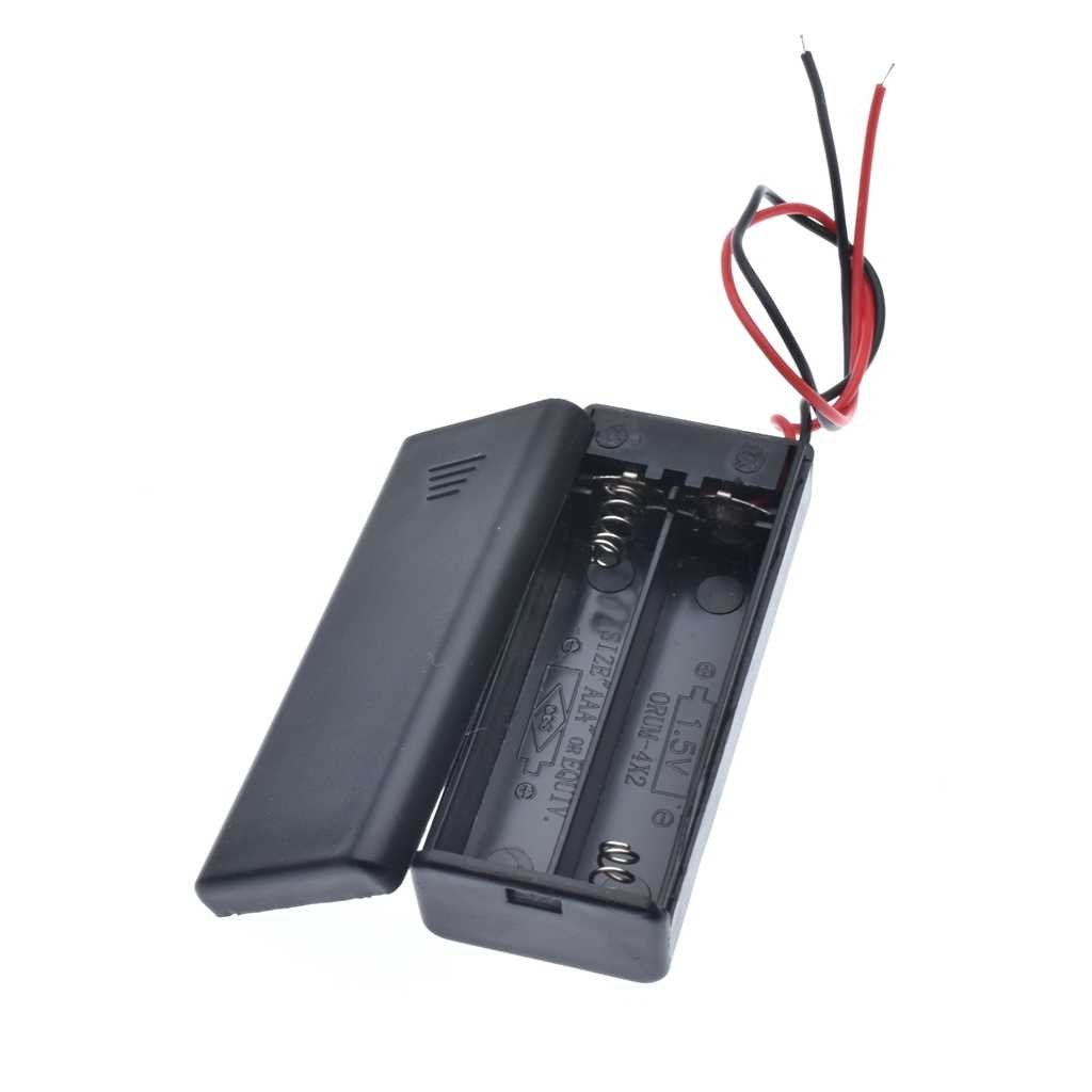 New 2 * AAA Battery Storage Case Box Holder for 2pcs AAA Batteries with ON/OFF Switch & Wire Leads Black Wholesale