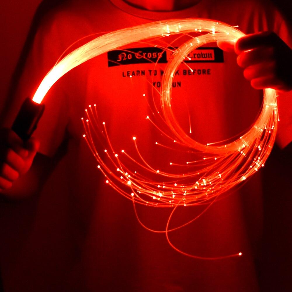 Lanterna multicolorida da fibra ótica do chicote da dança do chicote da fibra ótica do diodo emissor de luz de 360 graus para partidos, luzes mostra o festival da música de edm