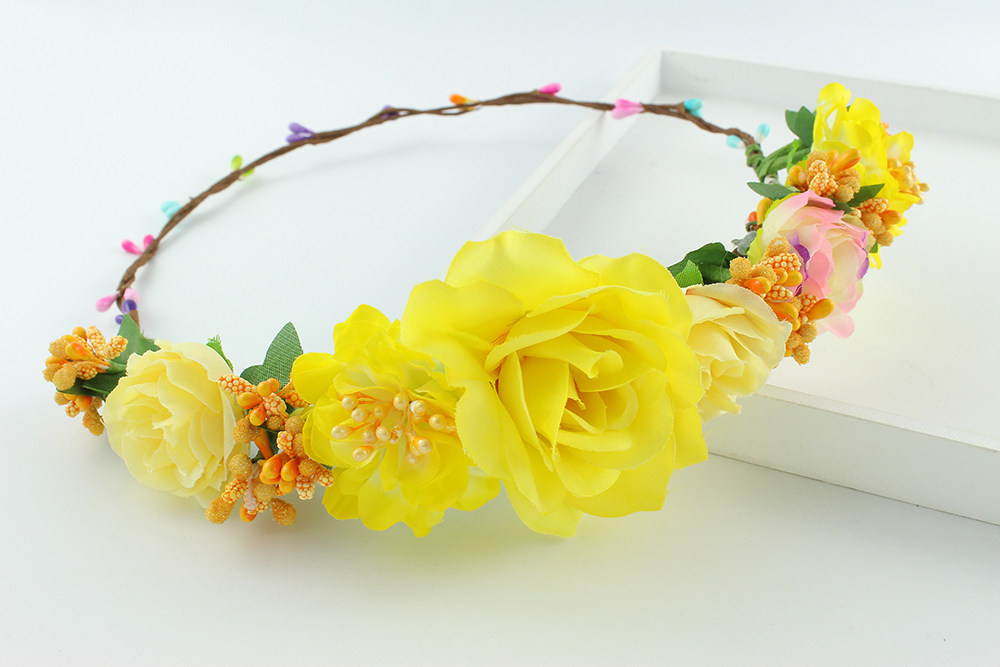 Summer style big flower yellow bride accessory rose flowers hair summer style big flower yellow bride accessory rose flowers hair bridal wedding flower garland headbands crowns headband in hair accessories from womens mightylinksfo