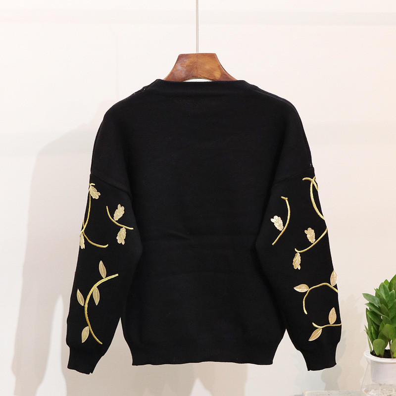 Harem Pantalon Pièce 2 Neploe gray Nouveau Femme Tricot 2019 Tricoté Black Fleur Mode Hiver Chandail Tops Ensemble Broderie De Et 37610 Loisirs wU6wT7xq