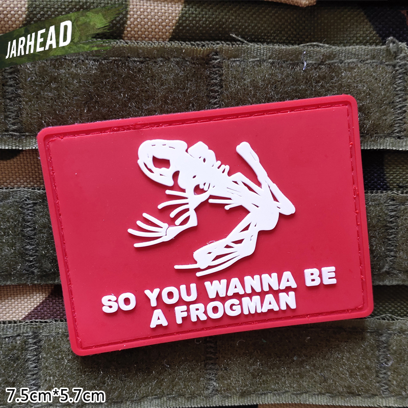 Frogman Military Pvc Patches Velcro Rubber Armband Tactical Badge Personality For Backpack Hat Clothes Jacket