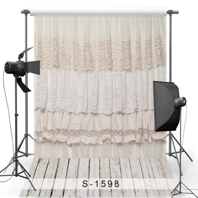 White Lace Flower Curtain Wood Floor photo backdrop Vinyl cloth High ...