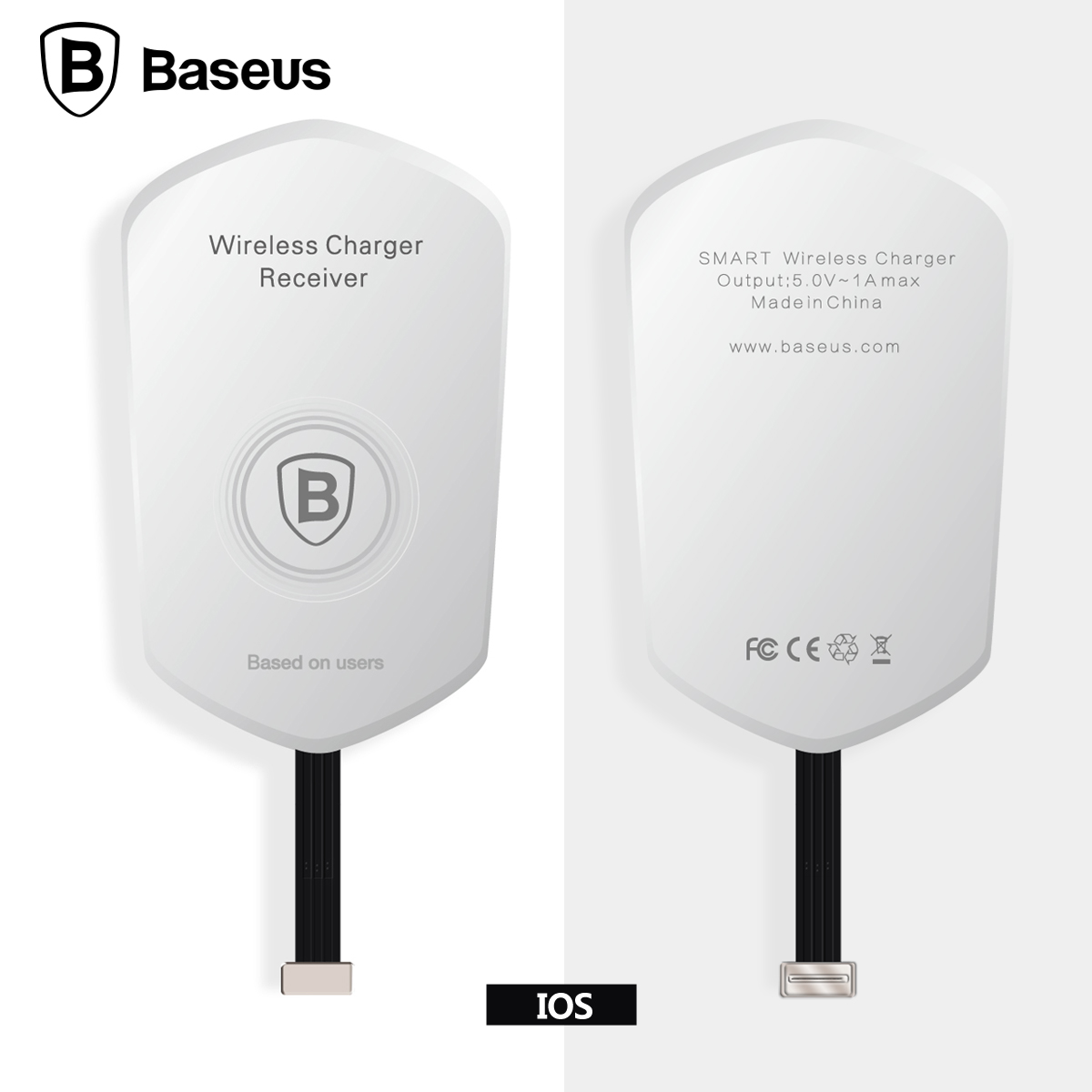 baseus qi wireless charger receiver micro usb lightning. Black Bedroom Furniture Sets. Home Design Ideas